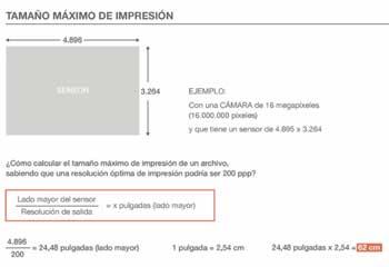 calcular el tamaño de impresión de una fotografía