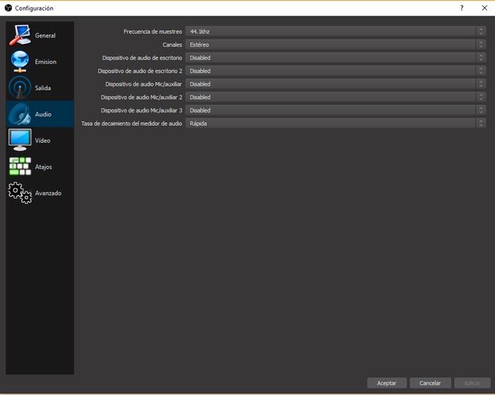 configuracion del audio en obs studio