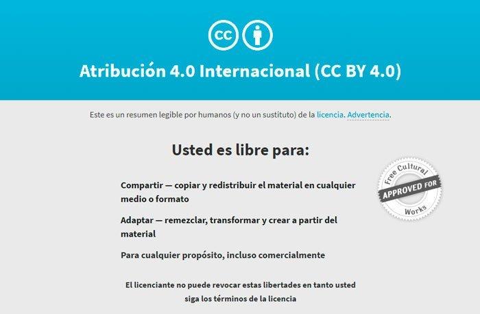 licencia de reconocimiento creative commons