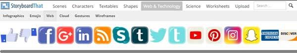 iconos de redes sociales y web