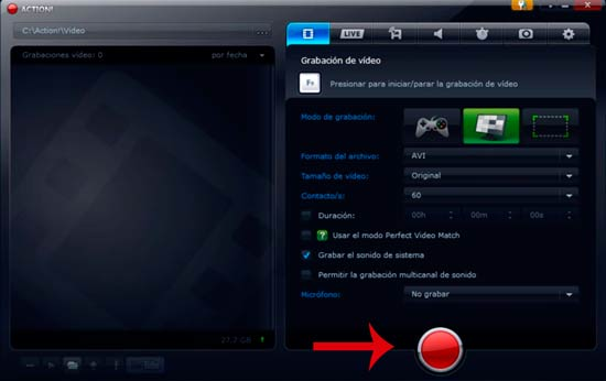 action para grabar la pantalla del pc